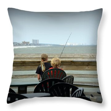 Fishing Buddies Throw Pillow by Kathy Barney