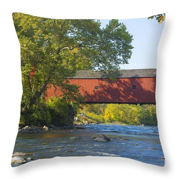 Fishing By The Covered Bridge Throw Pillow