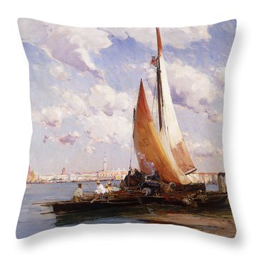 Fishing Craft With The Rivere Degli Schiavoni Venice Throw Pillow by E Aubrey Hunt