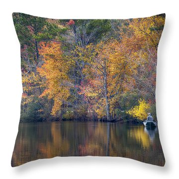 Fishing Throw Pillow by David Cote