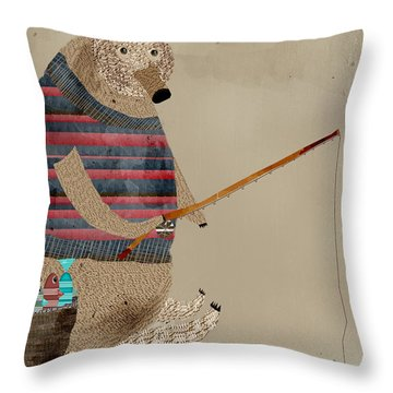Fishing For Supper Throw Pillow