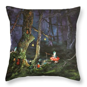 Fishing For Supper On Cannock Chase Throw Pillow