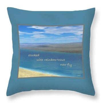 Throw Pillow featuring the digital art Fishing Haiga by Judi Suni Hall