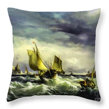Throw Pillow featuring the digital art Fishing In High Water by Lianne Schneider