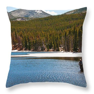 Throw Pillow featuring the photograph Fishing In Winter by Mae Wertz