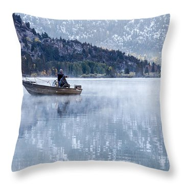 Fishing Into Silver Throw Pillow