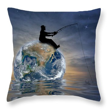 Fishing Is My World Throw Pillow by Nina Bradica