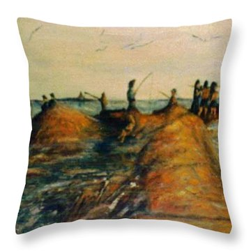 Fishing Near New Haven Throw Pillow
