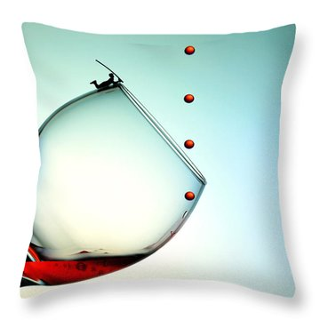 Fishing On A Glass Cup With Red Wine Droplets Little People On Food Throw Pillow