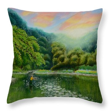 Fishing On The Dix Throw Pillow