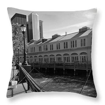 Fishing On The Harbor Throw Pillow