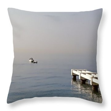 Fishing On The Riviera Throw Pillow by Jenny Hudson