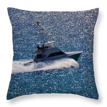 Fishing On The Silver Sea Throw Pillow