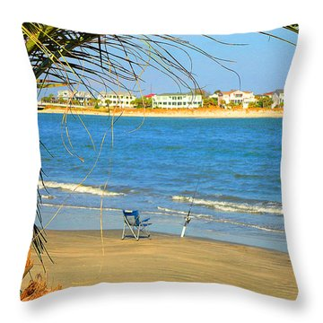 Fishing Paradise At The Beach By Jan Marvin Studios Throw Pillow