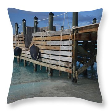 Fishing Pier Throw Pillow by Judy Wolinsky