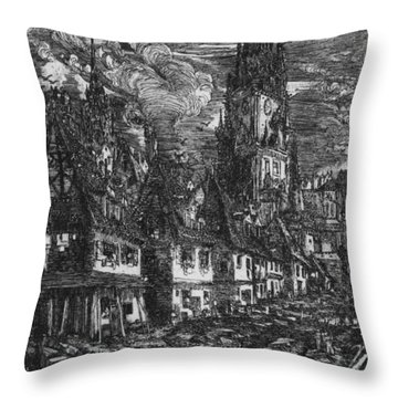 Fishing Port With Pointed Steeple Throw Pillow