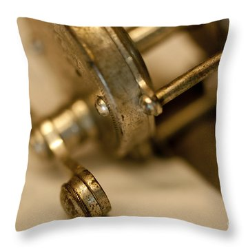 Fishing Reel  Throw Pillow by Wilma  Birdwell