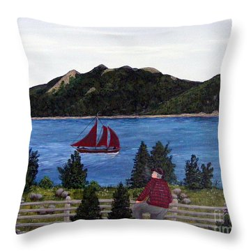 Fishing Schooner Throw Pillow by Barbara Griffin
