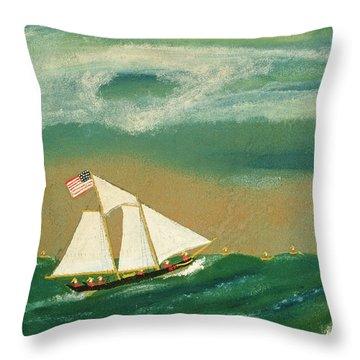 Fishing Schooner Josephine On The Grand Banks Throw Pillow