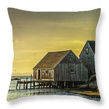 Fishing Shacks At Sunset Throw Pillow