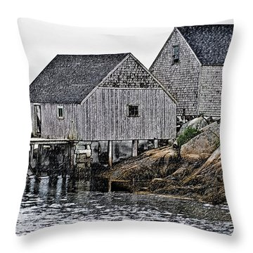 Fishing Sheds At Peggy's Cove Throw Pillow