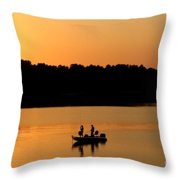 Throw Pillow featuring the photograph Fishing Silhouette  by Kathy  White