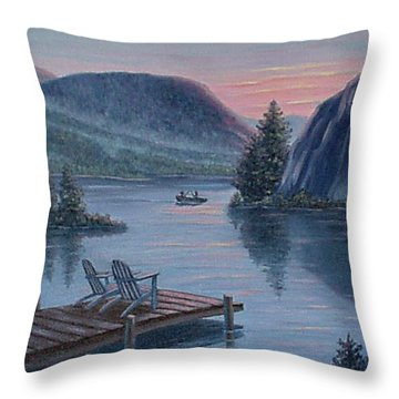 Throw Pillow featuring the painting Fishing Spot For Two by Fran Brooks