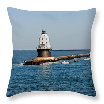 Fishing The Breakwater Throw Pillow by Skip Willits