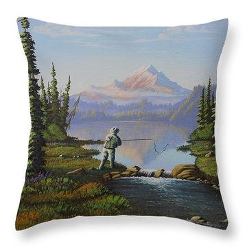 Fishing The High Lakes Throw Pillow