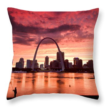 Fishing The Mississippi In St Louis Throw Pillow by Garry McMichael