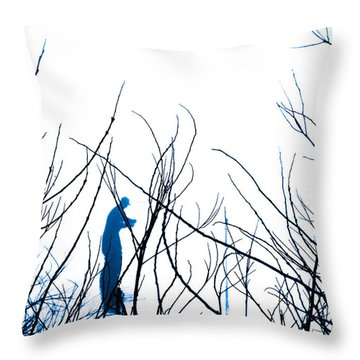 Throw Pillow featuring the photograph Fishing The River Blue by Robyn King