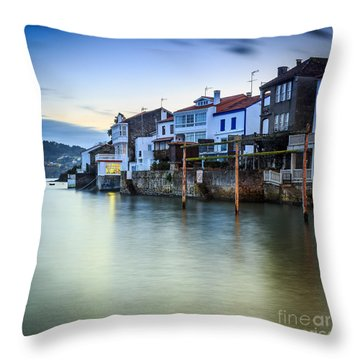 Fishing Town Of Redes Galicia Spain Throw Pillow