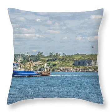 Throw Pillow featuring the photograph Fishing Trawler Coming Into Port by Jane Luxton