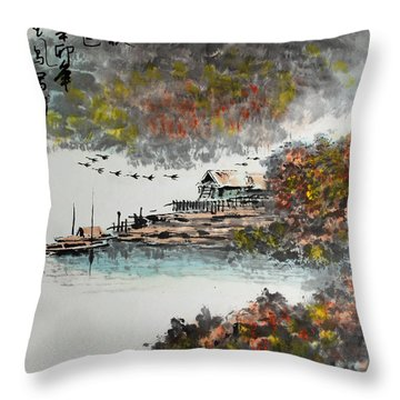 Fishing Village In Autumn Throw Pillow by Yufeng Wang