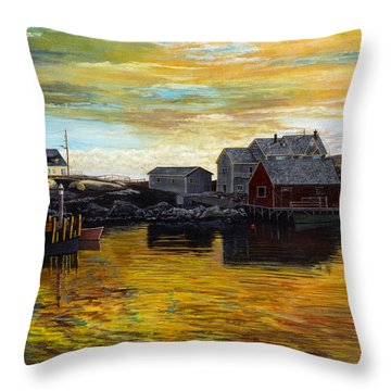 Fishing Village Maine  Throw Pillow by Stuart B Yaeger