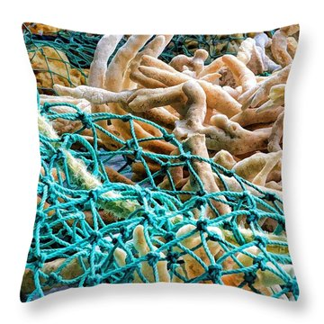 Fishing Village Ware Throw Pillow by Pamela Blizzard