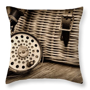 Fishing - Vintage Fly Fishing - Black And White Throw Pillow by Paul Ward