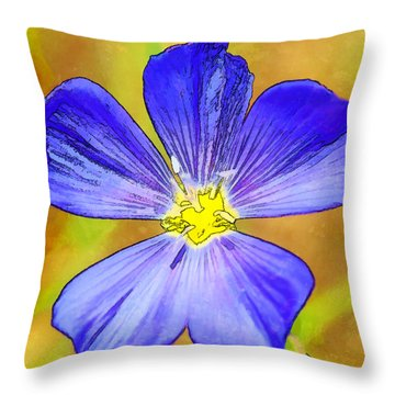Five Blue Petals Throw Pillow