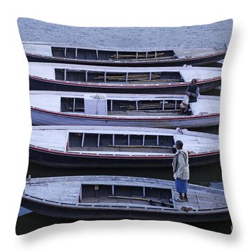Five Boats On The Ganges Throw Pillow by Robert Preston
