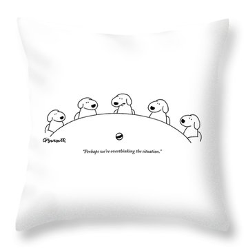 Five Dogs Sitting Around A Roundtable Throw Pillow