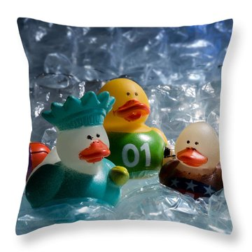 Five Ducks In A Row Throw Pillow
