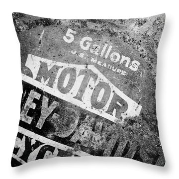 Five Gallon Motorcycle Oil Can Throw Pillow by Wilma  Birdwell