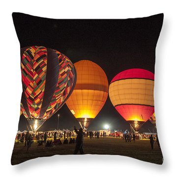 Five Glowing Hot Air Balloons Throw Pillow