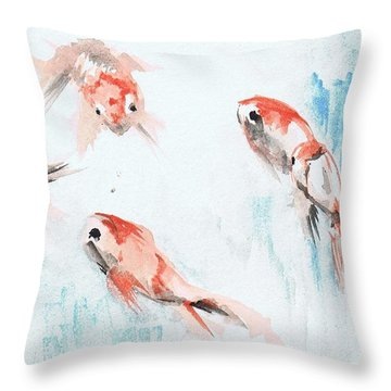 Throw Pillow featuring the painting Five Goldfish by Lauren Heller