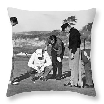 Five Golfers Looking At A Ball Throw Pillow