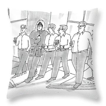 Five Guys Walking. One Is Wearing A Winter Coat Throw Pillow