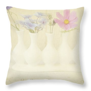Five Little Bouquets Throw Pillow by Bonnie Bruno