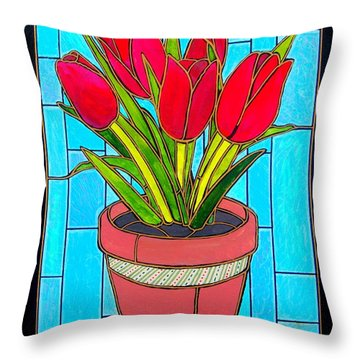Five Red Tulips Throw Pillow