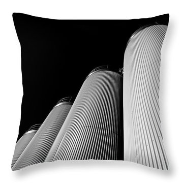 Five Silos In Black And White Throw Pillow