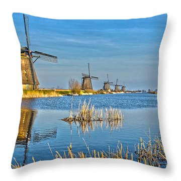 Five Windmills At Kinderdijk Throw Pillow